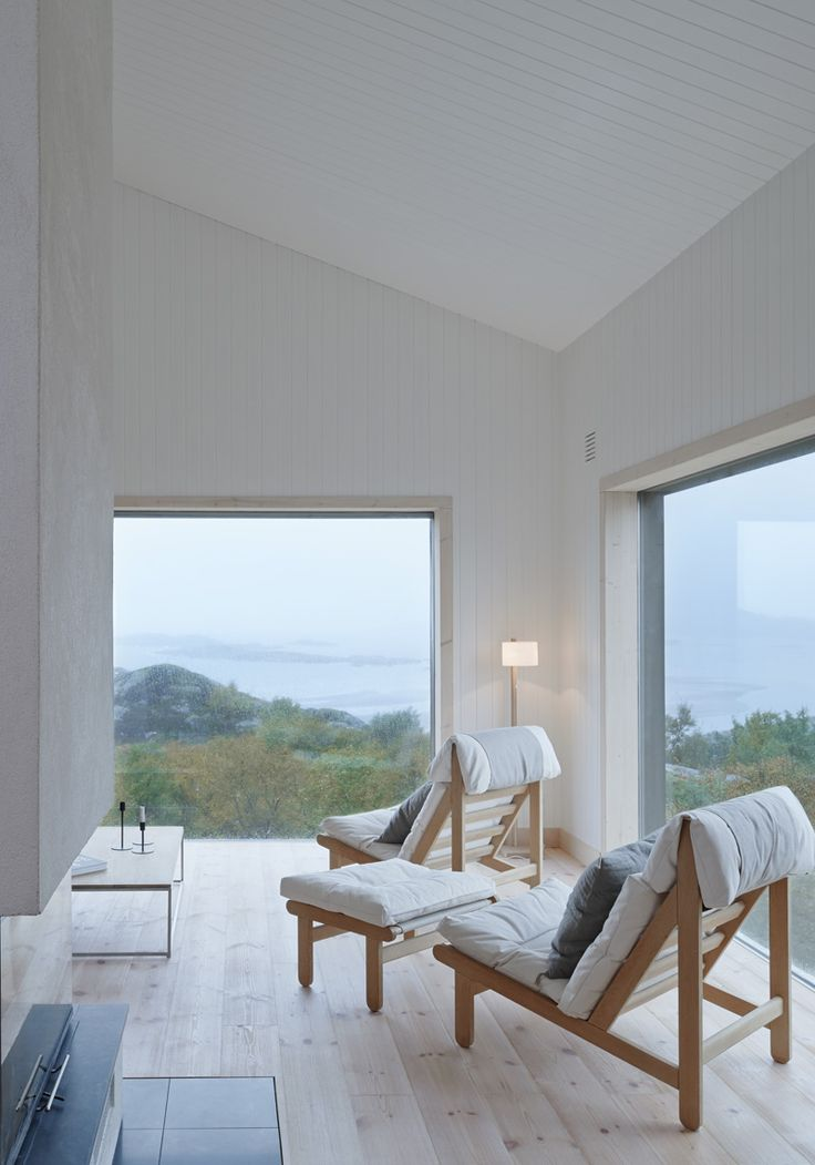Modern Living Spaces // A room with a view and filled with neutral interior finishes. Kolman Boye Architects have designed a small cottage on the island of Vega in Norway.