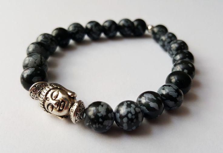 Unisex Genuine Obsidian Buddha Bracelet by Wild Lotus Jewellery