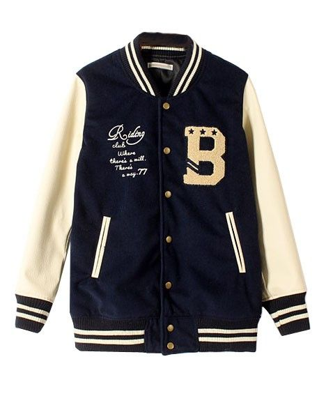 Letters Embroidery Contrast Stripe Jacket - Clothing