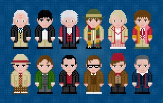 The Twelve Doctors - Doctor Who pattern by PixelPower