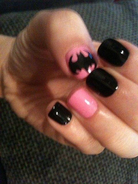 love the pink batman: Nails Art, Batman Nails, Nails Design, The Batman, Pink Batman, Black Batman, Nails Ideas, Nails Polish, Pink Black