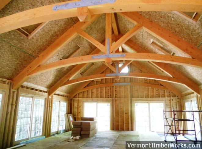 Interior View of a Pool House with Arched King Post ...