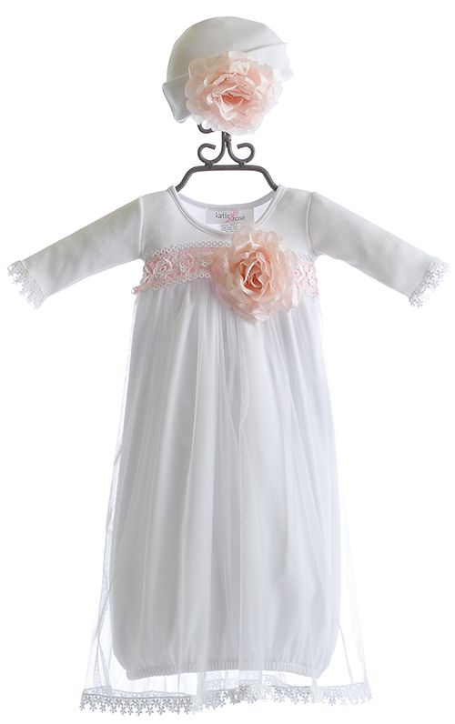 Katie Rose Fancy Layette Gown in White with Hat.  Very pretty going home from hospital gown.