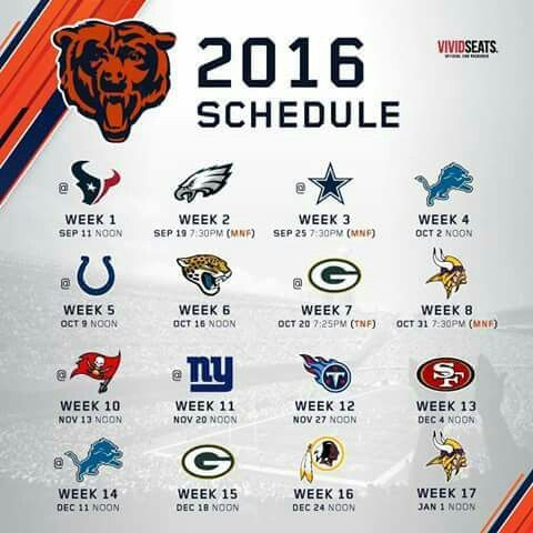 Chicago Bears 2016 schedule