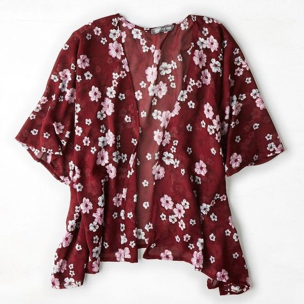 American Eagle Outfitters Don't Ask Why Printed Chiffon Kimono (46 AUD) ❤ liked on Polyvore featuring intimates, robes, kimono, floral kimono robe, american eagle outfitters, floral kimono, floral print robe and floral chiffon kimono