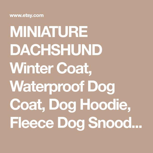 MINIATURE DACHSHUND Winter Coat, Waterproof Dog Coat, Dog Hoodie, Fleece Dog Snood, Winter Clothes, Wiener Dog Coat, Miniature Dog Clothing