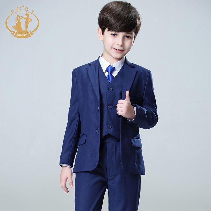 2017 Nimble suit for boy Single Breasted boys suits for weddings costume enfant garcon mariage boys blazer jogging garcon blue