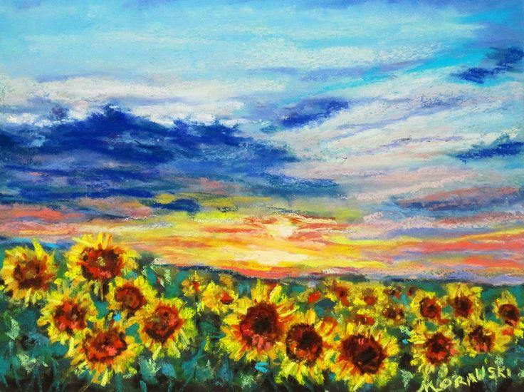 Field of Sunflowers Painting   Seasons: Raining Possibilities~~ Painting Sunflowers and a Sunrise