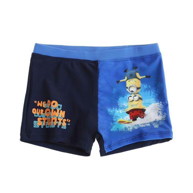 Slip de baie tip boxeri Minions albastru