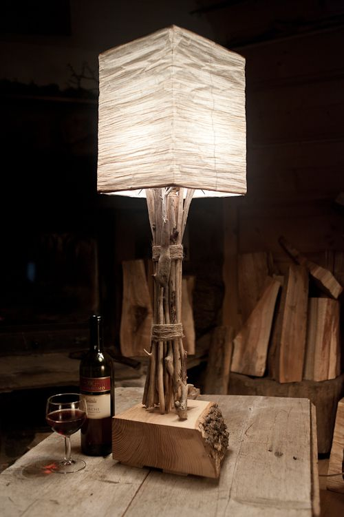 wooden lamp with paper shade