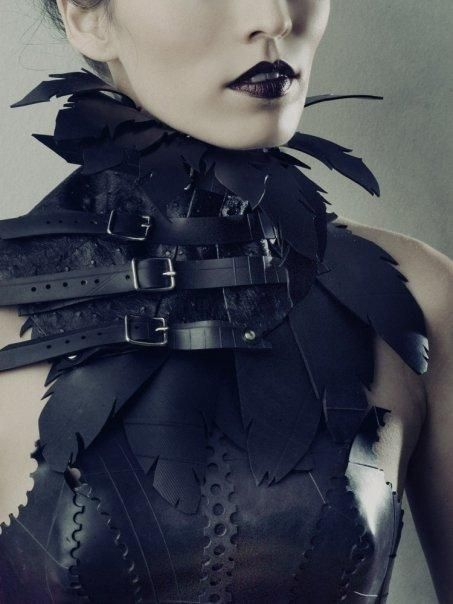 #Goth leather feather cut out color