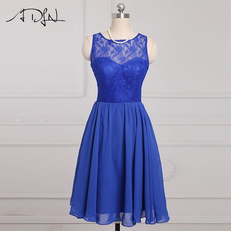 ADLN Stock Scoop Chiffon A-Line Cheap Short Bridesmaid Dresses Lace Wedding Party Dresses 2017 Maid of Honor Dress