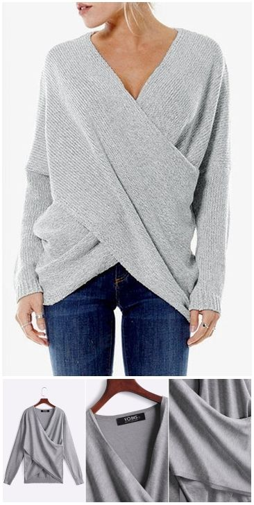 Grey Cross Front Irregular Hem Jumper US$15.95
