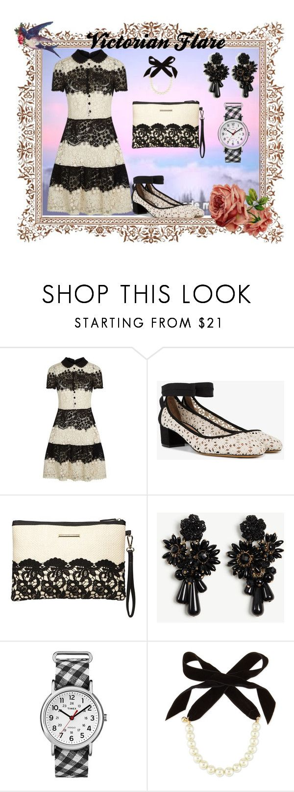"""Victorian Flare"" by flowerbud77 ❤ liked on Polyvore featuring RED Valentino, Tabitha Simmons, Dorothy Perkins, Ann Taylor, Timex, Lulu Frost, blackandwhite, embroidered and victorian"
