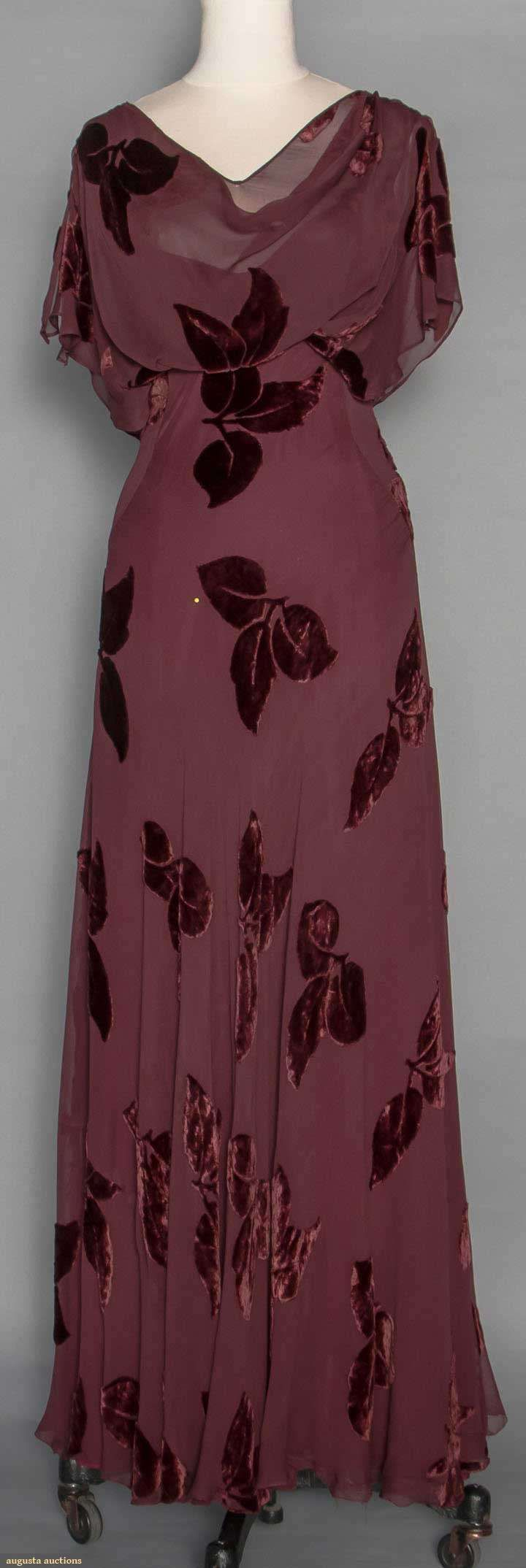 Cut Velvet Evening Gown, 1930s. For upcoming vintage and antique fashion and textile auction. #vintage #1930s