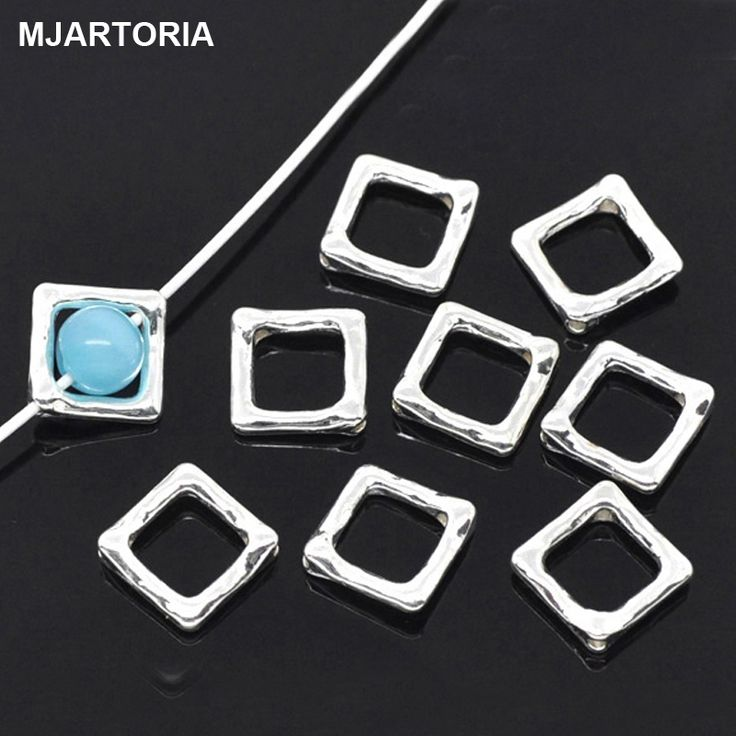 50PCs Square Bead Frames Jewelry Findings For DIY Silver Plated diy Beads For Jewelry Making Handmade Craft Accessories 12x12mm