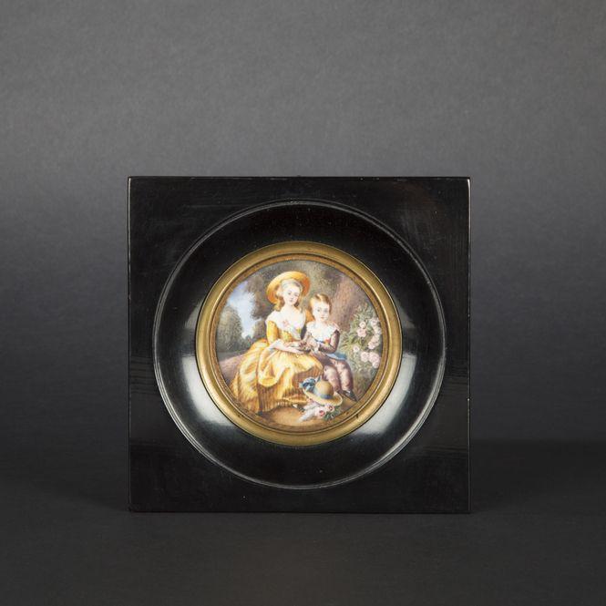 French School, 19th Century. Madame Royale and Dauphin Prince, miniature #BuyArtOnline #Expertissim