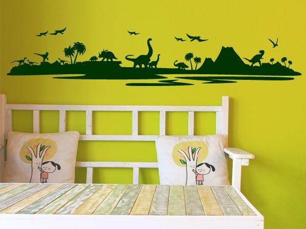 Nice Wandtattoo Wandtattoo Dinosaurier Landschaft ein Designerst ck von wandtattooall bei DaWanda