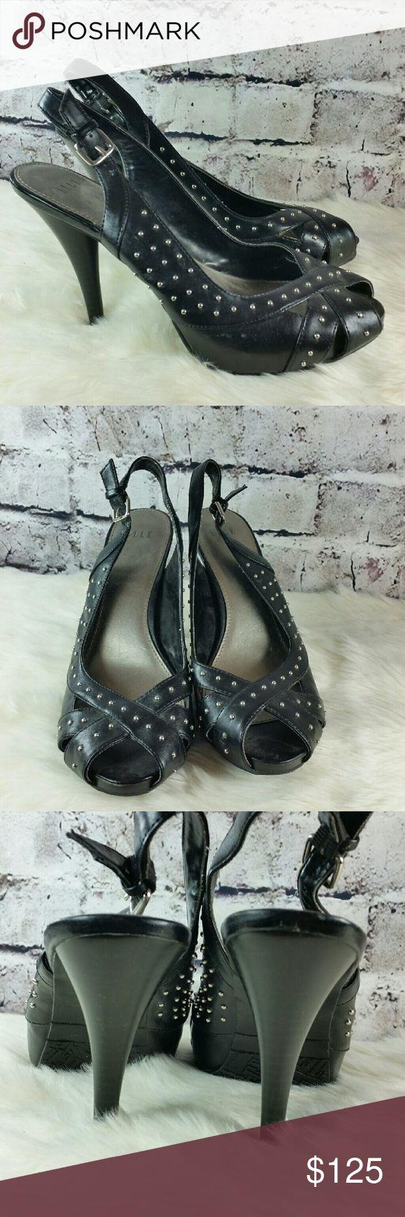 Black studded peep toe slingback heels Elle Maddy Black faux leather studded peep toe slingback heels. Heels are 4.5 inches Elle Shoes Heels