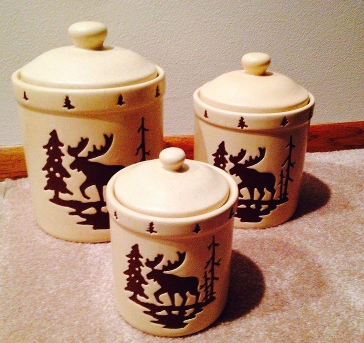 Moose Rustic Ceramic Flour, Sugar, Coffee Storage