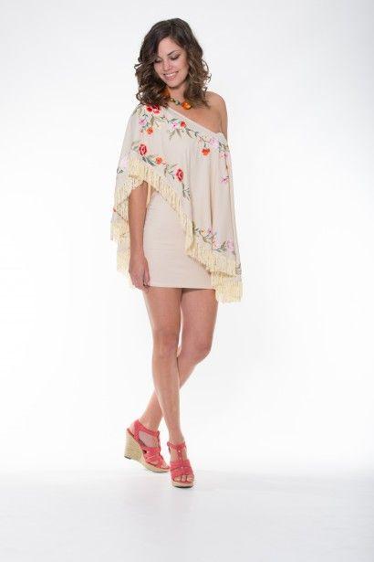 Violet Poncho – Beige Ladli Australia  Beautiful Embroiderd Poncho on Super Soft Wood-Bark/Bamboo Fabric. Can be worn several ways.