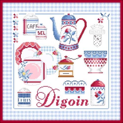 passionbonheur - Point de croix Digoin Collection Vaisselle Nouveauté