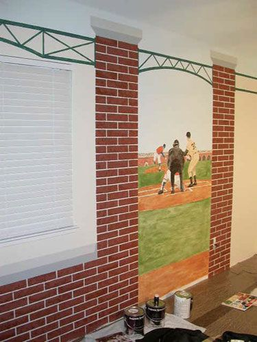 A Baseball Themed Mural Perfect For Chiefs Bedroom Or Basement