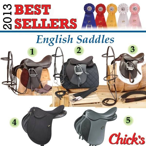 English Saddles 1. Beginners Saddle Package Complete with Pad: www.chicksaddlery.com/page/CDS/PROD/EP1 2. Equiroyal Pro Am All-Purpose Saddle Package: www.chicksaddlery.com/page/CDS/PROD/ERP660 3. EquiRoyal Regency Event Winner Saddle Package: www.chicksaddlery.com/page/CDS/PROD/ES5020 4. Wintec Pro Endurance Saddle with CAIR: www.chicksaddlery.com/page/CDS/PROD/WS6613 5. Wintec 250 All-Purpose Saddle: www.chicksaddlery.com/page/CDS/PROD/WSA250