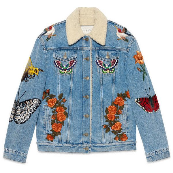Gucci Embroidered Denim Jacket (£2,950) ❤ liked on Polyvore featuring outerwear, jackets, tops, coats, denim, ready to wear, women, blue jackets, blue jean jacket and gucci jacket