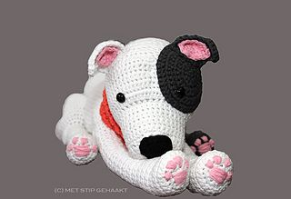 This is a crochet pattern for a Staffordshire Bull Terrier (also known as English Stafford), American Staffordshire Terrier or Pitbull Terrier. I have tried to catch all specific characteristics in this cute cuddle. He/she can sit the way only a Stafford/Pitbull can (even with the back paws up in the air), lie down and give his paw to you. And ofcourse it can look very waggish :-) The dog in the picture is white with grey spots but can be crocheted with every colour you want to make it your…