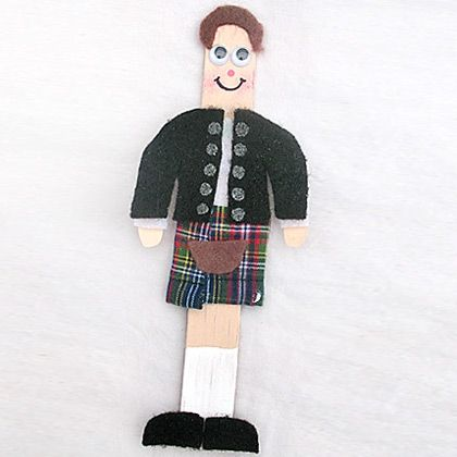 Scottish stick figure craft - might put this on my invitations for Burns night - or make one and photograph it 8 times.