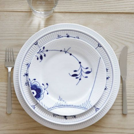 Kay Bojesen Grand Prix cutlery matte steel. Blue Fluted Mega, Blue Fluted Plain and White Fluted from Royal Copenhagen