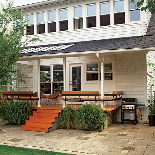 Porch rail with built in seating - Sunset.com