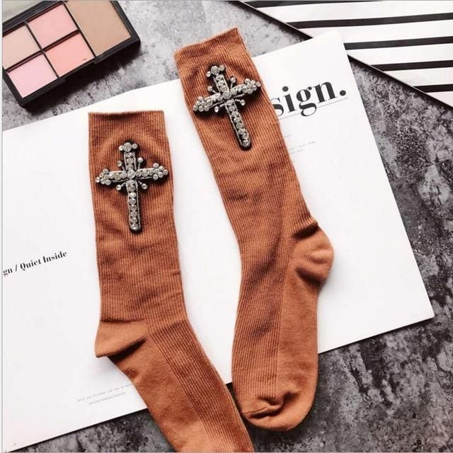 Crystal Cross Embellished Socks