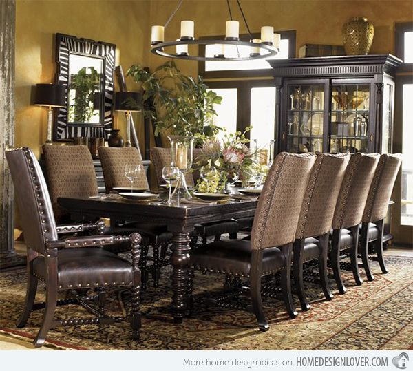 4 each side. End chairs different  15 Perfectly Crafted Large Dining Room Table Designs | Home Design Lover