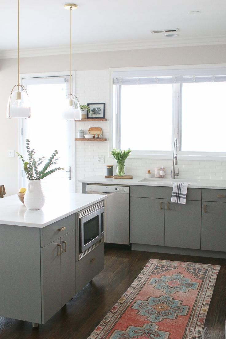 White gray kitchen with brass hardware home sweet home