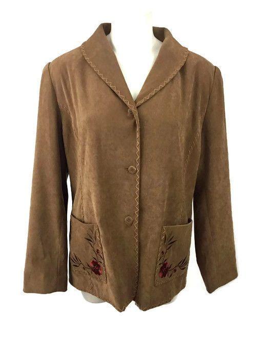 Susan Graver Stretch Moleskin Embroidered Western Jacket Whipstitching Sz Medium #SusanGraver #Blazer