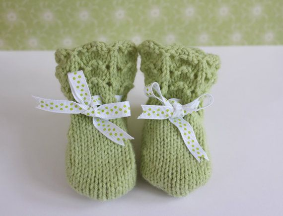 Green Baby Booties Vintage Booties Green Crib Shoes by Pinknitting