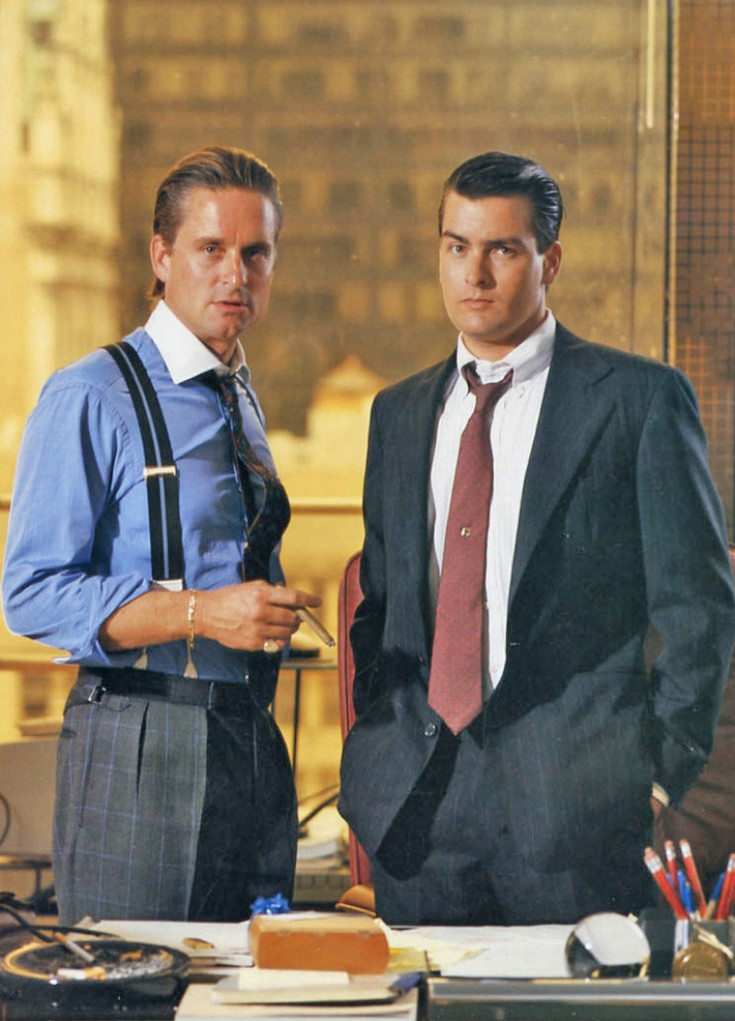 Michael Douglas as 'Gordon Gekko' & Charlie Sheen as 'Bud Fox' in Wall Street (1987)