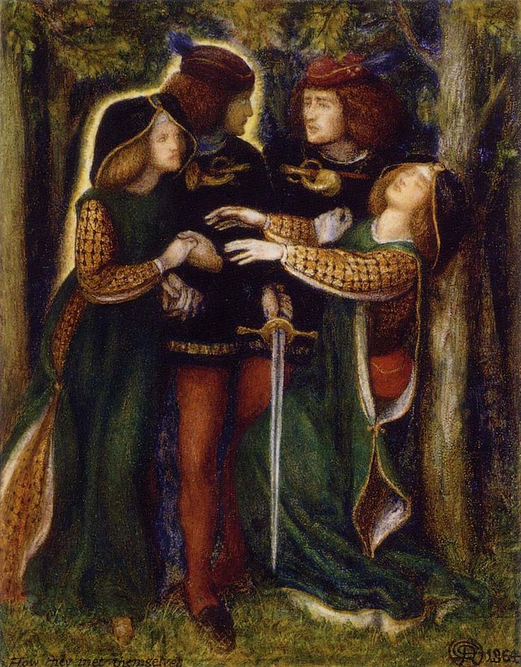 "Dante Gabriel Rossetti ""How they met themselves"""