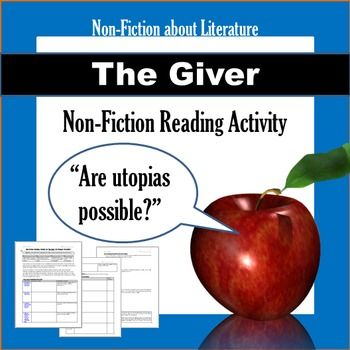FREE 2-day NON-FICTION lesson on The Giver! Read articles about past (failed) attempts at real-world utopias and why they didn't work.