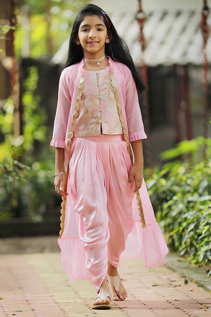 #angel #wings #jacket & #Dhoti Set #Ethnic #pink #beauty #princess
