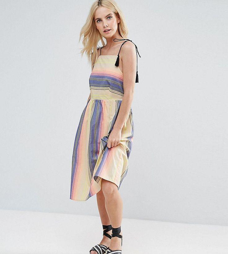 ASOS PETITE Washed Stripe Sundress with Tassel Detail - Multi