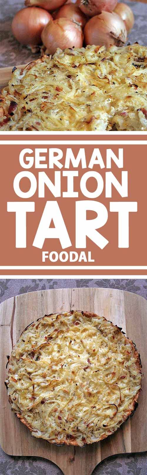 This classic German onion tart is the perfect dish for a cozy night in when it's cold outside. And served with a green salad or some veggies, it makes a delightful choice for lunch or dinner throughout the year. Enjoy the savory and delicious combination of onions, bacon, and creme fraiche in every slice.