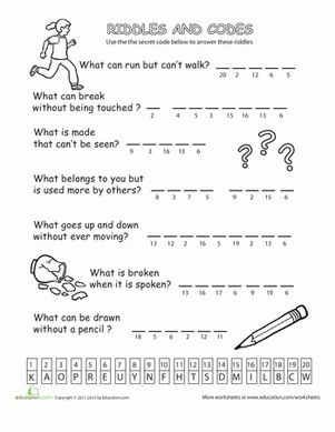 What can run but can't walk? Reveal the answer to this clever riddle by cracking the number code in this Riddles and Codes worksheet.