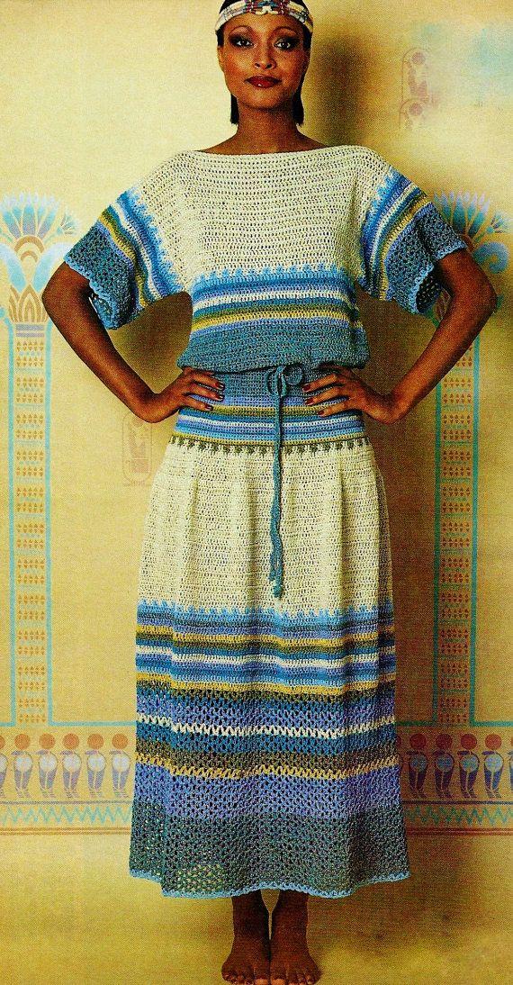 Two-Piece Blue Nile Dress 1970's Vintage PDF Crochet Pattern