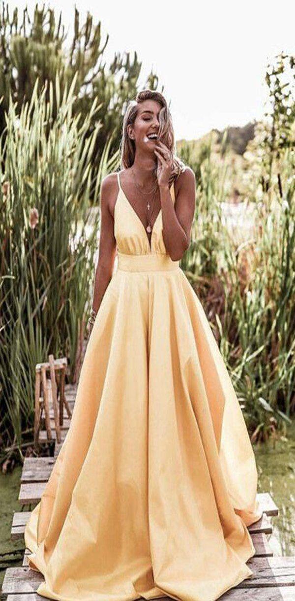 2020 Light Pastel Yellow Sexy Spaghetti Straps V-neck Long Empire Prom Dresses, …