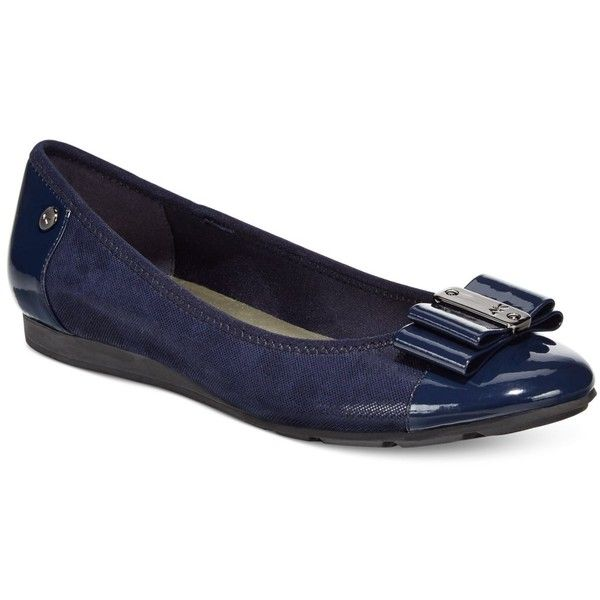 Anne Klein Sport Aricia Flats (4850 RSD) ❤ liked on Polyvore featuring shoes, flats, navy, anne klein flats, flat pumps, navy flat shoes, flat shoes and anne klein