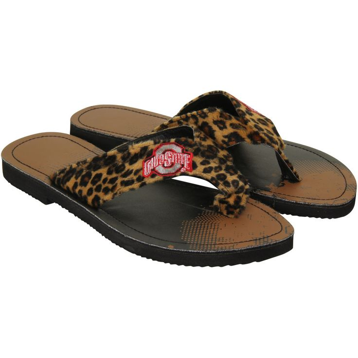 Ohio State Buckeyes Women's Cheetah Strap Flip Flops