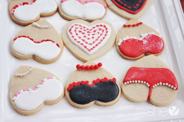 Food and Drink.  Upside-down hearts = Lingerie Sugar Cookies! How fun are these?! Perfect for: Valentines, Bridal Shower, Anniversary ;)